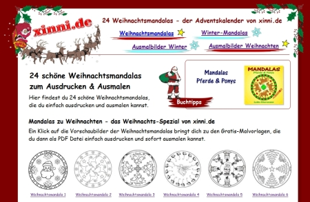 schöne Weihnachtsmandala für Kinder